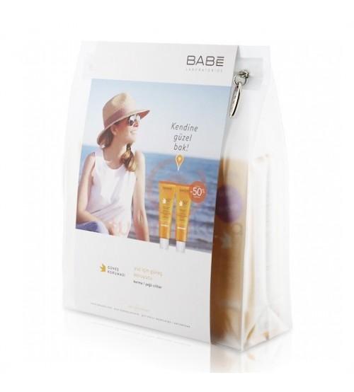 Babe Dry Touch Yağsız Güneş Koruyucu Süper İkili Kofre+ Islak Mayo Çantası (Hediye)